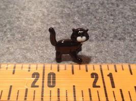 Micro miniature small hand blown glass black cat standing USA  NIB image 4