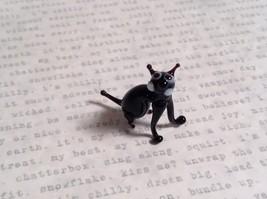 Micro miniature small hand blown glass black cat sitting USA made image 4