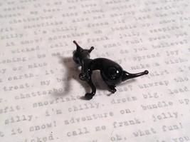 Micro miniature small hand blown glass black cat sitting USA made image 7