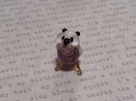 Micro miniature small hand blown glass brown and white owl  USA  NIB image 2