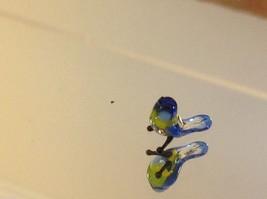 Micro miniature small hand blown glass blue yellow bluebird made in USA  NIB image 2