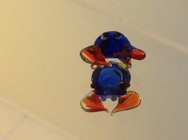 Micro miniature small hand blown glass blue crab w orange claws  USA made image 4