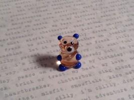 Micro miniature small hand blown glass clear bear with blue arms animal USA  NIB image 5