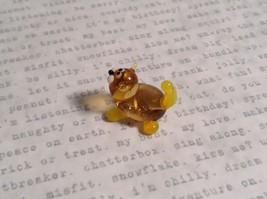 Micro miniature small hand blown glass figurine amber yellow cat USA  NIB image 7