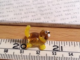 Micro miniature small hand blown glass figurine amber yellow cat USA  NIB image 8