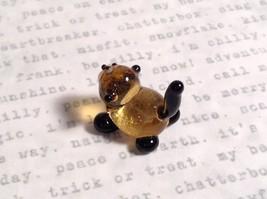 Micro miniature small hand blown glass figurine black and yellow cat USA  NIB image 3