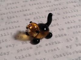 Micro miniature small hand blown glass figurine black and yellow cat USA  NIB image 4