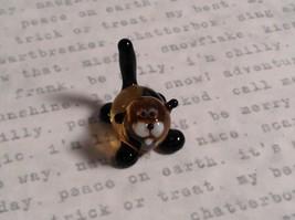 Micro miniature small hand blown glass figurine black and yellow cat USA  NIB image 5