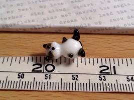 Micro miniature small hand blown glass figurine black white kitty cat USA  NIB image 7