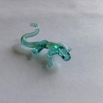 Micro miniature small hand blown glass figurine blue lizard USA  NIB image 2
