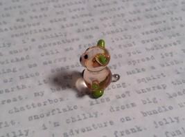 Micro miniature small hand blown glass figurine clear green bear USA  NIB image 7