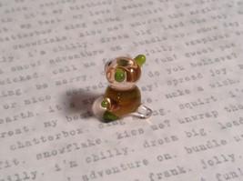 Micro miniature small hand blown glass figurine clear green bear USA  NIB image 8