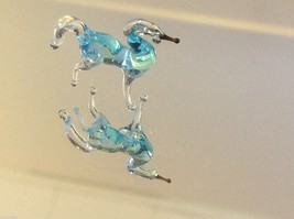 Micro miniature small hand blown glass light blue horse  made in USA  NIB image 3