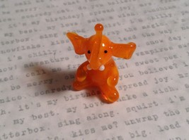 Micro miniature small hand blown glass orange elephant USA made image 5