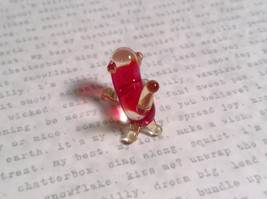 Micro miniature small hand blown glass red and clear cat USA made image 3