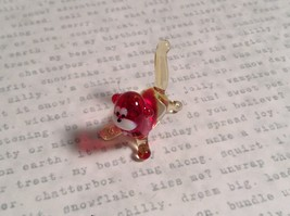 Micro miniature small hand blown glass red and clear cat USA made image 6