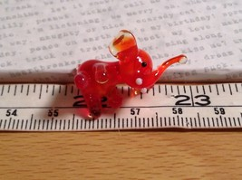 Micro miniature small hand blown glass red amber sitting elephant USA made image 6
