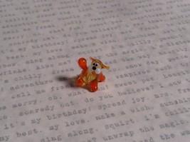 Micro miniature small hand blown glass striped orange cat w/ whiskers USA  NIB image 2
