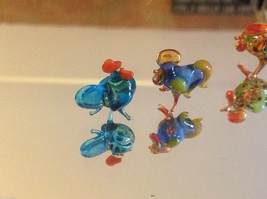 Micro miniature small hand blown glass standing rooster in color choice image 7