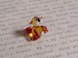 Micro miniature small hand blown glass tiny amber red cat  USA made image 2
