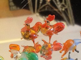 Micro miniature small hand blown glass standing rooster in color choice image 11