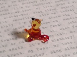 Micro miniature small hand blown glass tiny amber red cat  USA made image 4