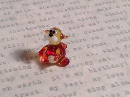 Micro miniature small hand blown glass tiny amber red cat  USA made image 5