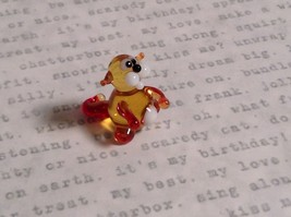 Micro miniature small hand blown glass tiny amber red cat  USA made image 6