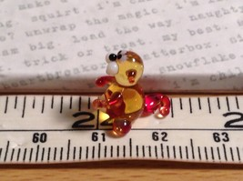 Micro miniature small hand blown glass tiny amber red cat  USA made image 7