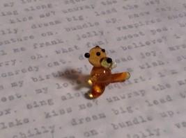Micro miniature small hand blown glass tiny figurine amber bear USA  NIB image 4