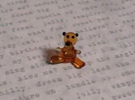 Micro miniature small hand blown glass tiny figurine amber bear USA  NIB image 5