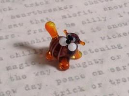 Micro miniature small hand blown glass tiny violet orange striped cat USA made image 2