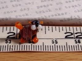 Micro miniature small hand blown glass tiny violet orange striped cat USA made image 6