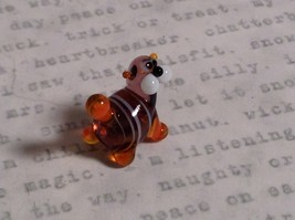 Micro miniature small hand blown glass tiny violet orange striped cat USA made image 5