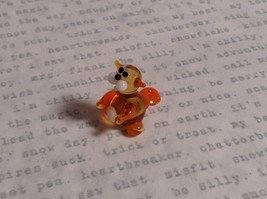 Micro miniature small hand blown glass tiny orange amber cat USA made image 2