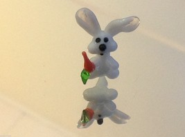 Micro miniature small hand blown glass white rabbit with carrot USA made image 5