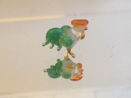 Micro miniature small hand blown glass white rooster green feathers orange comb image 3