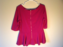 Pink Short Sleeve Blouse by Alwear Zipper Closure in Back Flared Bottom Size 14 image 2