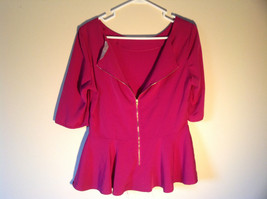 Pink Short Sleeve Blouse by Alwear Zipper Closure in Back Flared Bottom Size 14 image 3