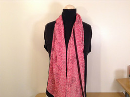 Pink Scarf with Floral Ornament and Black Border 100 Percent Polyester image 2