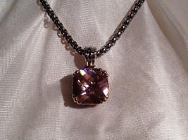 Pink Square 16 CT CZ Stone White Gold Rhodium Pendant Necklace Adjustable Length image 3