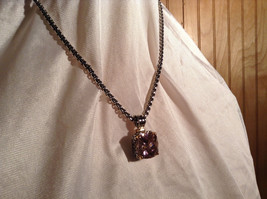 Pink Square 16 CT CZ Stone White Gold Rhodium Pendant Necklace Adjustable Length image 2
