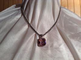 Pink Square 16 CT CZ Stone White Gold Rhodium Pendant Necklace Adjustable Length image 7