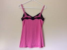 Pink Spaghetti Strap Tank Top Black Lace at Top NO TAG image 4