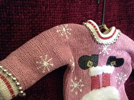 Pink Poseable Ugly Sweater Ornament Snowflakes Pipe Cleaners Picture of Santa image 3