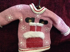 Pink Poseable Ugly Sweater Ornament Snowflakes Pipe Cleaners Picture of Santa image 2