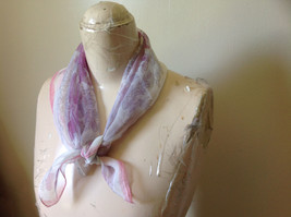 Pink White Fuchsia Flowered Square Fashion Scarf by Hanfei Lightweight Material image 3