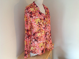 Pink Yellow Flower Pleated Ruffled Long Sleeve Shirt Style and Company Size 8 image 2