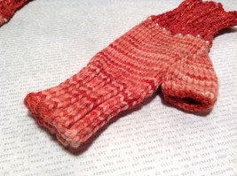 Pink Red Hand Knitted Woven Fingerless Gloves Very Soft image 3