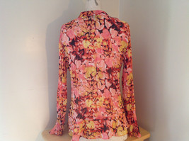 Pink Yellow Flower Pleated Ruffled Long Sleeve Shirt Style and Company Size 8 image 8